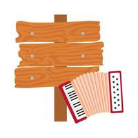 classical accordion with wooden sign post on white background