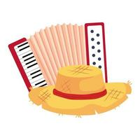 classical accordion with hat wicker on white background vector