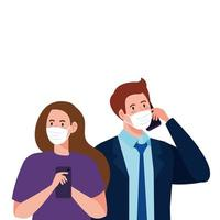 Mujer y hombre con máscaras médicas con diseño vectorial de teléfono inteligente