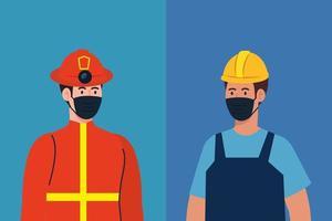 Bombero masculino y constructor con diseño vectorial de máscaras vector