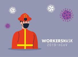 Hombre bombero con casco y diseño de vector de máscara de trabajador