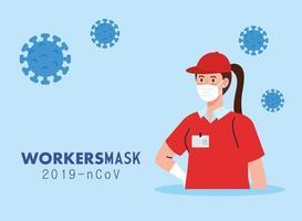 Mujer de entrega con uniforme y diseño de vector de máscara de trabajador