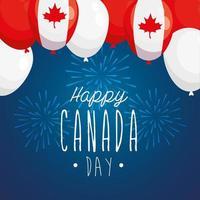 Globos canadienses de feliz día de Canadá diseño vectorial vector