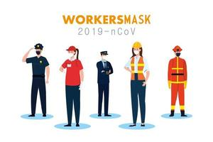 people workers with uniforms and worker masks vector design
