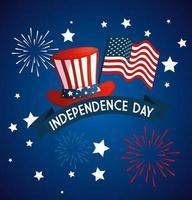 sombrero de estados unidos con la bandera del diseño vectorial del día de la independencia vector