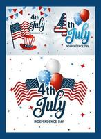 Usa icon set on frames of independence day vector design