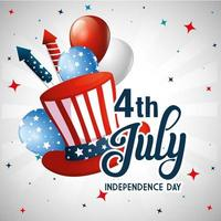 Usa hat balloons and fireworks of independence day vector design