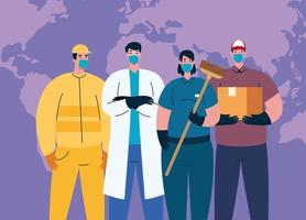 people workers with worker masks and world map vector design