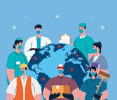 people workers with workermasks and world map vector design