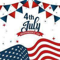 Bandera de Estados Unidos con banderín de banner de diseño vectorial del día de la independencia vector
