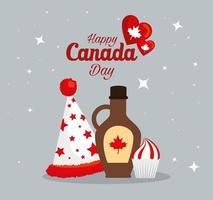 sombrero de jarabe de arce canadiense y cupcake de diseño vectorial feliz día de canadá vector