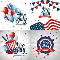 icono de Estados Unidos en marcos de diseño vectorial del día de la independencia vector
