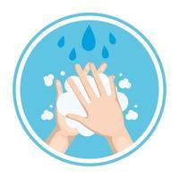 Lavarse las manos con jabón y gotas de agua diseño vectorial vector