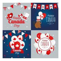 Canadian icon set frames of happy canada day vector design