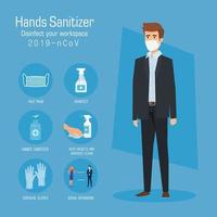 Businessman with mask and hands sanitizer prevention tips vector design