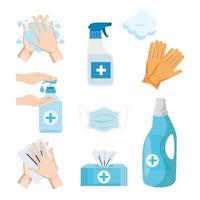 Disinfects icon set vector design