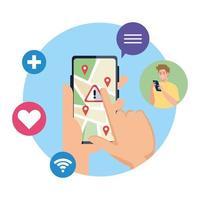 Manos sosteniendo un teléfono inteligente con marcas de gps y diseño de vector de banner de advertencia