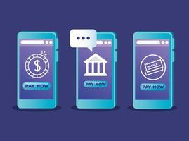 Smartphones con diseño de vector de moneda bancaria y tarjeta de crédito