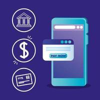 Smartphone con diseño de vector de tarjeta de crédito y moneda bancaria