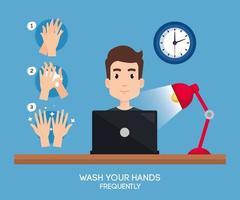 Businessman on desk and hands sanitizer vector design