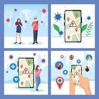 Personas con máscaras con marca de teléfono inteligente y gps en el mapa de diseño vectorial