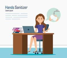 mujer de negocios, en, escritorio, y, manos, desinfectante, vector, diseño vector