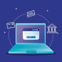 portátil y sitio web con diseño vectorial de botón pagar ahora