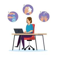 Businesswoman on desk and hands sanitizer vector design