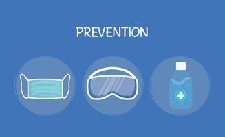 manos desinfectante botella máscara médica y gafas diseño vectorial vector