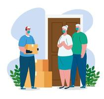 Delivery man and old people clients with masks and boxes vector design