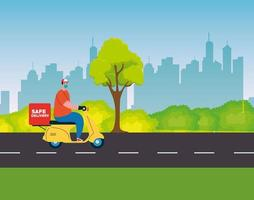 Delivery man with mask motorcycle and box on streetvector design vector