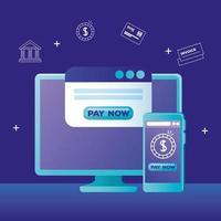 computadora, teléfono inteligente, y, sitio web, con, pagar ahora, botón, vector, diseño