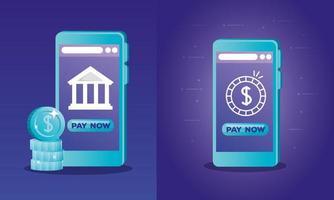 smartphones con diseño de vector de banco y monedas