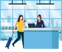 Stewardess on reception and woman with medical masks and bag vector design
