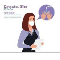 mujer de negocios, con, máscara, y, manos, desinfectante, vector, diseño vector