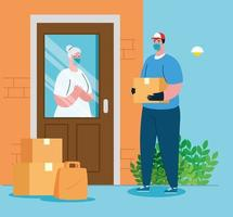 Delivery man and old woman client with mask and boxes vector design