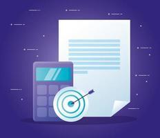 calculadora de destino y diseño de vector de documento