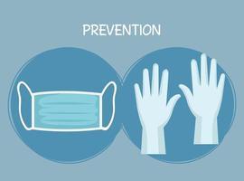 Medical mask and gloves vector design