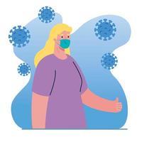 avatar de mujer con diseño de vector de máscara