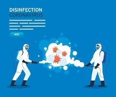 Men with protective suit spraying covid 19 vector design