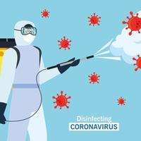 Man with protective suit spraying covid 19 vector design