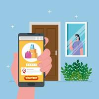 Woman client with mask behind window and smartphone vector design