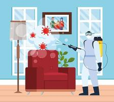 Man with protective suit spraying home room with covid 19 vector design