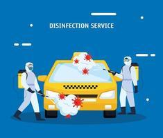 Hombres con traje de protección rociando un taxi con diseño vectorial covid 19 vector