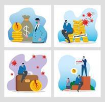 empresarios con máscaras y dinero conjunto de iconos de diseño vectorial de quiebra vector