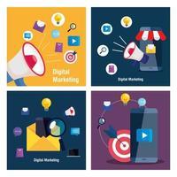 teléfonos inteligentes y megáfono con conjunto de iconos de diseño vectorial de marketing digital