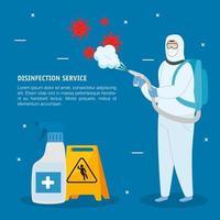Hombre con traje protector rociando virus covid 19 y diseño vectorial de botella desinfectante vector