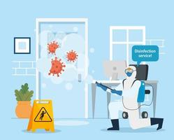 Man with protective suit spraying office room with covid 19 vector design
