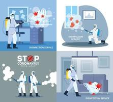 Men with protective suit spraying office rooms with covid 19 vector design