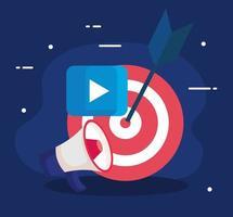 Megáfono de destino y botón de reproducción de diseño vectorial de marketing digital vector